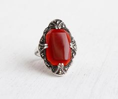 Vintage Art Deco Carnelian & Marcasite Ring - Antique Size 4 Sterling Silver Semi Precious Stone Flapper Shield Jewelry / Crimson Red by Maejean Vintage on Etsy, $88.00
