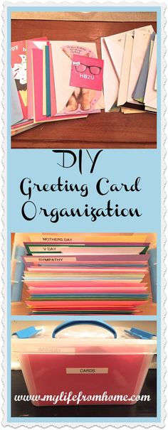 Organization trick for greeting cards.  Never be left without a card when you need one again!  | My Life From Home | www.mylifefromhome.com