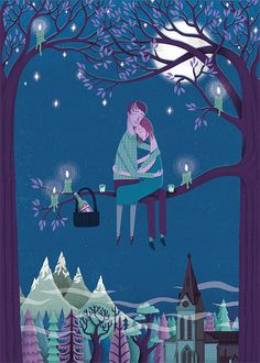 Ilustraciones--georgie and michael sitting in a tree. Art And Illustration, Illustrations, Good Night Moon, Sweet Night, Nighty Night, Beautiful Moon, Oui Oui, Moon Art, Whimsical Art