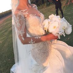 Mermaid Bateau Long Sleeves Floor-Length Wedding Dress with Beading Appliques Ruffles mermaid wedding dresses, long sleeves wedding dresses, wedding dress with sleeves, ruffles wedding dresses, appliques wedding dresses Dresstells Lace Mermaid Wedding Dress, Dream Wedding Dresses, Bridal Dresses, Steven Khalil Wedding Dress, Wedding Robe, Lace Wedding, Wedding Knot, Wedding Goals, Wedding Wishes