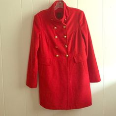 Red Wool Pea Coat The Limited Like new!! Red winter coat. A little brighter than a classic red. The Limited Jackets & Coats Pea Coats