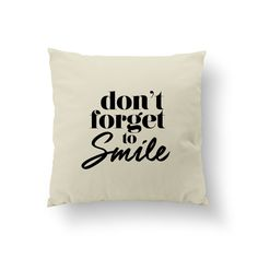 Don't Forget To Smile Pillow, Typography Pillow, Home Decor, Gold Cushion Cover, Throw Pillow, Bedroom Decor, Bed Pillow, Gold Pillow,. Every pillow is originally designed by us and handmade. The item cover + insert. SIZE: 16 x 16 inches. Every pillow finished with a zipper.