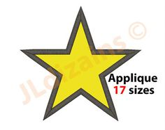 6 sizes Star Applique Design Basic Star by broderiedesign on Etsy