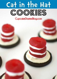 Cat in the Hat Cookies #drseuss #cookie | CupcakeDiariesBlog.com {Perfect for a Dr. Seuss birthday party or Read Across America Day!}