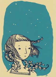 What Comes Out at Night, a hand-printed two-color screen print of an illustration by Jen Corace, printed by Jo Dery.