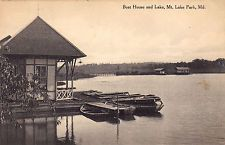 mt lake park md history | Mountain Lake Park Maryland Boat House Scene Postcard MD