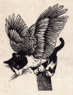 {Flying Cat No:2} Linocut by Carl Harris aka Catboy