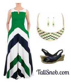 Colorblock Tall Maxi Dress  and navy and green woven necklace