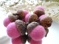 7 Pastel Pink CASHMERE ACORNS upcycled by CustomWarmWoolies, $11.00