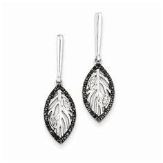 Sterling Silver Black & White Diamond Post Dangle Earrings Attributes Casted;Polished;Post;Sterling silver;Diamond;Prong set;Rhodium-plated;Black diamond;Gift Boxed Product Type:Jewelry Jewelry Type:E