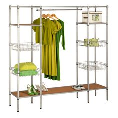 Features:Durable and rust-resistantBasket style shelves hold almost any itemAccommodates long dresses and c...