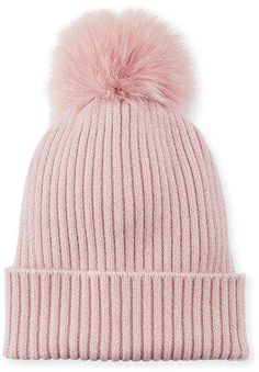 Sofia Cashmere Ribbed Beanie with Fox Fur Pompom Cute Beanies, Cute Hats, Women's Hats, Beanie Hats, Funny Slippers, Toe Warmers, Addi Express, Cable Knit Hat, Winter Accessories