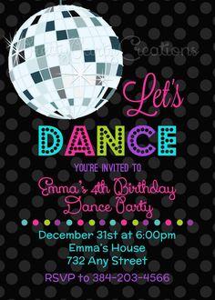 LET'S DANCE Disco Ball invitation - YOU Print LET'S DANCE Disco Ball invitation YOU by PrettyPartyCreations