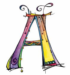 """This Zenspirations Dangle monogram """"A"""" is part of the new alphabet I created for my new book, Zenspirations Dangle Designs. My daughter, Samantha Trattner, painted it in all my favorite colors."""
