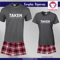 Valentine's Day Couples Pajamas - Boxers | Taken  Design | Pressed 4 Fun | Valentine's Day Gifts