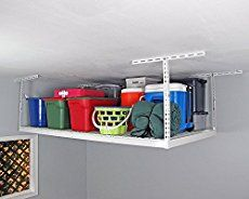Here are some brilliantly clever garage organization tips! Clean up all the junk in your garage with these unique and creative ideas! Never misplace anything in your garage again with these guide to the perfect storage space. Overhead Storage Rack, Garage Ceiling Storage, Garage Storage Shelves, Shed Storage, Garage Organization, Storage Spaces, Organization Ideas, Organization Station, Workshop Storage