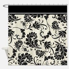 Black and white swirls damask shower curtain for