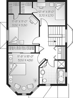 Second Floor Plan of Country   Victorian   House Plan 65244
