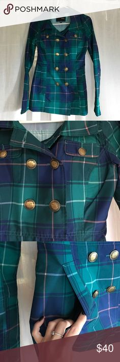 BNWOT Plaid Peacoat Style Rain Jacket ☔️ Brand new, never worn! Very flattering fit in the waist, definitely not your average rain jacket! Brand is Hurley, listed as Topshop for exposure Topshop Jackets & Coats Pea Coats