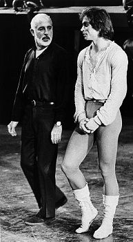 Oct. 1970: Jerome Robbins and Nureyev talk during a rehearsal of Robbins' new ballet 'Dances at a Gathering'.