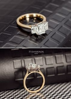 Another delightful creation - a bespoke trilogy ‎#engagement ring set with 3 dazzling radiant diamonds.   Make an appointment with us to start your beautiful bespoke journey at: http://www.77diamonds.com/