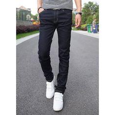 Simple Style Zipper Fly Design Solid Color Bleach Wash Pocket Embellished Narrow Feet Men's Denim Pants, DEEP BLUE, 32 in Jeans | DressLily.com