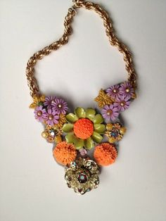 Electric Garden Party Statement Necklace- Heirloom Collection