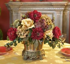 Garnet Peony And Hydrangea Silk Floral Centerpiece. Accent Your Dining Table  With Our Lovely Custom