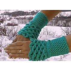 Fingerless Gloves / Wristwarmers Crocodile Stitch in Teal