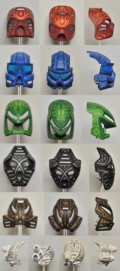 Tribal Collage 2 by MrCod on DeviantArt Bionicle Heroes, Lego Bionicle, Pokemon, Lego Mechs, Cool Lego Creations, Lego Design, Lego Models, Fanart, Mask Design