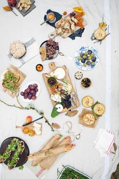 picnic dishes on cheese boards