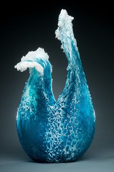 "asylum-art: ""Glass Vases and Sculptures Capture the Beauty of Cascading Waves By Marsha Blaker and Paul DeSomma "" Frozen Waves, Vases, Colossal Art, Crashing Waves, Ocean Waves, Resin Art, Oeuvre D'art, Fused Glass, Stained Glass"