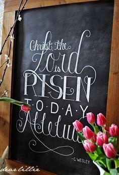The Lord is Risen! Christian Easter Chalkboard Art - by Dear Lillie Chalkboard Designs, Chalkboard Art, Chalkboard Pictures, Kitchen Chalkboard, Diy Osterschmuck, Diy Crafts, Positive Energie, Resurrection Day, Dear Lillie