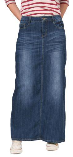 Fashionable USKEES Rachel Long Denim Skirt - Classic denim maxi ...