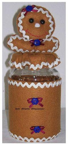 GINGER em feltro Decorated Jars, Gingerbread Cookies, Biscuits, Iphone, Desserts, Food, Decorating Jars, Jars, Feltro