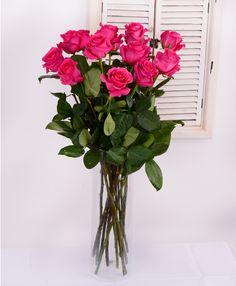 Prekrásne vysoké cyklámenové ruže - TOPAZ nájdete aj u nás v ponuke. #Slovakia #gift #suprise #romanticflowers #flowersdelivery #kvetyexpres Glass Vase, Flowers, Home Decor, Decoration Home, Room Decor, Royal Icing Flowers, Home Interior Design, Flower, Florals