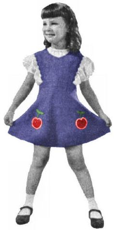 Girls Jumper Vintage Knitting Pattern for download Sz 2-6