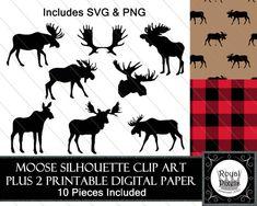 Moose Silhouette Clip Art Set of 8 PLUS 2 Digital by RoyalPixels