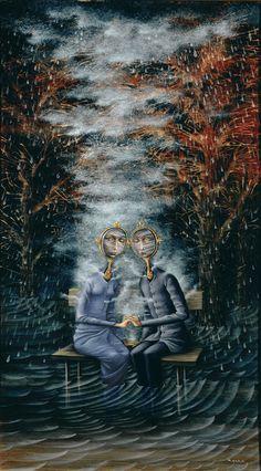 Los amantes, 1963.  En él aparece una pareja (ambos con rostro de espejo) sumidos en un ambiente lluvioso y húmedo producido por vapores que emanan de sus pechos. Los amantes reflejan entre ellos un rostro profundamente triste, que parece ser el detonante para que sus cuerpos provoquen más y más condesado vapor, que probablemente acabará por hundirlos.