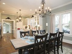 Projects inspiration joanna gaines kitchen table a craftsman gets makeover fixer upper style Cottage Dining Rooms, Living Room Kitchen, Kitchen Dining, Open Kitchen, Kitchen Tables, Dining Table, Kitchen Island, Dining Chairs, Kitchen Post