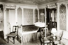 Stateroom B-58 onboard the Titanic, decorated in Louis XVI style, 1912