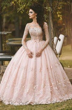 Cheap princess bridal gown, Buy Quality bridal gown directly from China bridal gowns in dubai Suppliers: Vestido de Novia 2017 Blush Pink Lace Ball Gown Wedding Dress Long Sleeves Boat Neck Flora Princess Bridal Gowns in Dubai Quince Dresses, 15 Dresses, Ball Dresses, Pretty Dresses, Dresses Online, Disney Dresses, Formal Dresses, Pink Wedding Gowns, Long Wedding Dresses