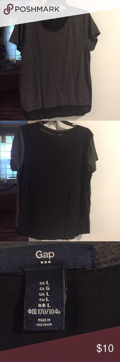 Gap top, slightly sheer back. Size large Excellent condition.  Gray and black.  Back black panel is slightly sheer GAP Tops
