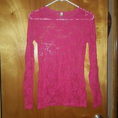 Lace top Long sleeve see through lace top. From Joyce Leslie, size large. Stretchy. Tops