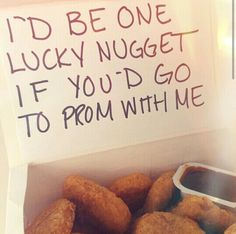 Proposal Ideas friends To be honest, if one of my guy friends asked me to prom and brought me chicken n. To be honest, if one of my guy friends asked me to prom and brought me chicken nuggets, his chances would be significantly higher Cute Homecoming Proposals, Formal Proposals, Homecoming Ideas, Homecoming Dresses, Homecoming Signs, Homecoming Posters, Football Homecoming, Homecoming Spirit, Homecoming Dance
