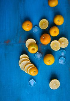 citrus contrasting with the blue background