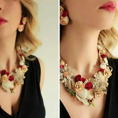 Shabby chic, victorian necklace, entirely hand-sewn in Italy