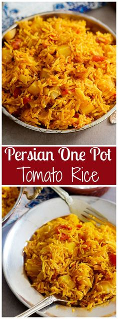Persian One Pot Tomato Rice - Dami Gojeh Farangi is an easy vegetarian dish full of amazing flavors. It's all made with very few ingredients and can be prepared in no time! Empanadas Vegetarian, Middle Eastern Vegetarian Recipes, Vegetarian One Pot Meals, Vegetarian Rice Noodle Recipes, Indian Food Recipes Easy, Amazing Vegetarian Recipes, Veggie Recipes Easy, Basmati Rice Recipes, Middle Eastern Recipes
