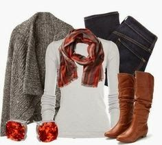 Grey woollen shawl, white sweater, scarf, jeans and long boots for winters dress collection | Fashion World