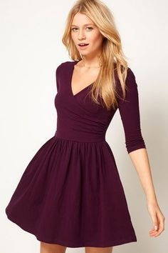 ASOS Skater Dress With Ballet Wrap and Sleeve this looks comfy. Fall Dresses, Pretty Dresses, Beautiful Dresses, Casual Dresses, Wrap Dresses, Beautiful Boys, Plum Dresses, Chiffon Dresses, Beautiful Clothes